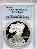 Modern Bullion Coins, 2005-W $1 Silver Eagle PR70 Deep Cameo PCGS. PCGS Population(1516). NGC Census: (11023). Numismedia Wsl. Price for proble...