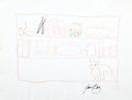 Movie/TV Memorabilia:Original Art, Joan Baez: Singer's Doodle for Hunger. Benefitting St.Francis Food Pantries And Shelters . ...