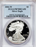 Modern Bullion Coins, 2004-W $1 Silver Eagle PR70 Deep Cameo PCGS. PCGS Population(1525). NGC Census: (8814). Numismedia Wsl. Price for problem...