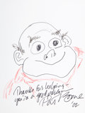Movie/TV Memorabilia:Original Art, Pat Boone: Singer's Doodle for Hunger. Benefitting St. Francis Food Pantries And Shelters . ...