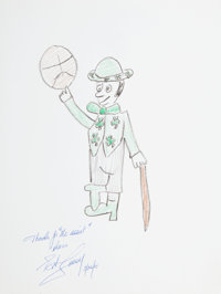 Bob Cousy: Basketball Player's Doodle for Hunger Benefitting St. Francis Food Pantries A