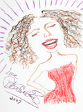 Movie/TV Memorabilia:Original Art, Lisa Edelstein: Actor's Doodle for Hunger. Benefitting St. Francis Food Pantries And Shelters . ...