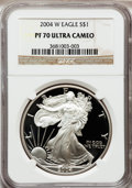Modern Bullion Coins, 2004-W $1 Silver Eagle PR70 Ultra Cameo NGC. NGC Census: (8814).PCGS Population (1525). Numismedia Wsl. Price for problem...