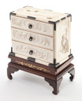 Asian:Other, AN ASIAN CARVED IVORY AND PATINATED METAL MINIATURE CHEST OFDRAWERS ON WOOD STAND . Circa 1900. 5 x 6 x 3-1/2 inches (12.7 ...(Total: 2 Items)