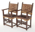 Furniture , A PAIR OF SPANISH WOOD AND TOOLED LEATHER ARMCHAIRS. 17th century. 45-1/2 x 24-1/2 x 19-1/2 inches (115.6 x 62.2 x 49.5 cm)... (Total: 2 Items)