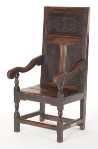 A FRENCH GOTHIC-STYLE OAK ARM CHAIR 16th century (in part) 45 x 20-3/4 x 21 inches (114.3 x 52.7 x 53.3 cm)