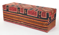A KILIM COVERED BENCH 20th century 23 x 69-3/4 x 23 inches (58.4 x 177.2 x 58.4 cm)  The Elton M. Hyder