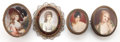 Decorative Arts, French:Other , A GROUP OF FOUR FRENCH ITEMS EACH FEATURING A PAINTED PORTRAITMINIATURE . 19th century. 1-1/8 x 3-1/2 x 3 inches (2.9 x 8.9...(Total: 4 Items)