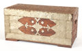 Furniture , A KOREAN ELM BLANKET CHEST WITH ENGRAVED BRASSWORK. 19th century. 14-1/4 inches x 30-1/4 inches x 15-3/4 inches (36.2 x 76.8...
