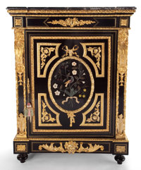 A FRENCH LOUIS XVI-STYLE GILT BRONZE MOUNTED EBONIZED AND HARD STONE CABINET 19th century Marks: ST