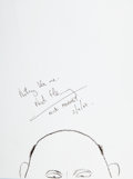 Movie/TV Memorabilia:Autographs and Signed Items, Nick Hornby: Author's Doodle for Hunger. Benefitting St. Francis Food Pantries & Shelters. ...