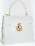 Luxury Accessories:Bags, Gucci White Leather Two-Way Top Handle Bag with Shoulder Strap. ...