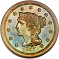 1857 1C Braided Hair Large Cent PR66 Brown NGC. N-3, Low R.5....(PCGS# 2000)