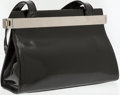 Luxury Accessories:Bags, Karl Lagerfeld Black Patent Leather Shoulder Bag. ...
