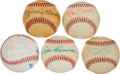 Baseball Collectibles:Balls, Baseball Greats Single Signed Baseballs Lot of 5, With 2Mantles....