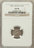 Seated Half Dimes: , 1853 H10C Arrows AU58 NGC. NGC Census: (177/719). PCGS Population(127/563). Mintage: 13,210,020. Numismedia Wsl. Price for...