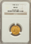 Indian Quarter Eagles: , 1908 $2 1/2 MS65 NGC. NGC Census: (389/63). PCGS Population(471/95). Mintage: 564,800. Numismedia Wsl. Price for problem f...