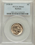 Buffalo Nickels: , 1938-D 5C MS66 PCGS. PCGS Population (28049/1593). NGC Census:(19612/1956). Mintage: 7,020,000. Numismedia Wsl. Price for ...