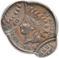 Errors, 1889 1C Indian Cent -- Triple Struck, 85% and 95% Off Center -- XF45 PCGS....