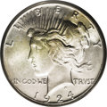 Peace Dollars: , 1924-S $1 MS65 PCGS. A frosty Gem and seldom encountered in suchexceptional grade. Both side...