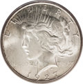 Peace Dollars: , 1927-S $1 MS65 PCGS. Delicate tan-gold freckles enrich thisotherwise ivory-gray Gem. The low...