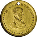 Hard Times Tokens: , (1836) Van Buren, Democracy and Our Country, HT-78, DeWitt MVB 1836-4 R.4, AU58 NGC. Brass. Bright and minimally abraded exc...