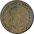 Hard Times Tokens: , (1840) Henry Clay, HT-79A, R.3, AU55 NGC. Brass. Deep brown patina with a wavy thread-like strike-through in the center of t...