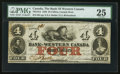 Canadian Currency: , Clifton, CW - The Bank of Western Canada $4 Sep. 20, 1859 Ch. #795-10-12. ...
