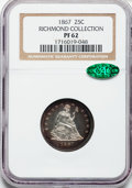 Proof Seated Quarters: , 1867 25C PR62 NGC. CAC. Ex: Richmond Collection. NGC Census:(15/99). PCGS Population (34/102). Mintage: 625. Numismedia Ws...
