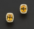 Estate Jewelry:Earrings, Citrine & Diamond Gold Earrings. ...