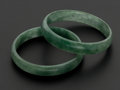 Estate Jewelry:Bracelets, Two Green Jade Bangles. ... (Total: 2 Items)