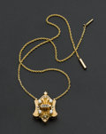 Estate Jewelry:Necklaces, Victorian Gold, Pearl & Enamel Slide With Gold Neck Chain. ...