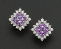 Estate Jewelry:Earrings, Amethyst & Diamond Gold Earrings. ...
