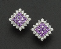 Amethyst & Diamond Gold Earrings