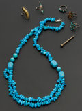 Estate Jewelry:Other , A Lot Of Seven Victorian Pencil Turquoise Necklace & 5 Rings.... (Total: 7 Items)