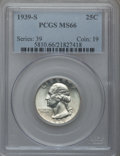 Washington Quarters: , 1939-S 25C MS66 PCGS. PCGS Population (288/26). NGC Census:(223/33). Mintage: 2,628,000. Numismedia Wsl. Price for problem...