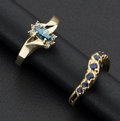 Estate Jewelry:Rings, Blue Diamond Ring & A Sapphire Ring. ... (Total: 2 Items)