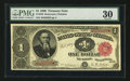 Large Size:Treasury Notes, Fr. 349 $1 1890 Treasury Note PMG Very Fine 30.. ...