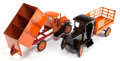 General Americana, TWO PAINTED METAL STURDY TOY TRUCKS. 20th century. 12 x 9 x 27inches (30.5 x 22.9 x 68.6 cm) (Black Truck). ... (Total: 2 Items)