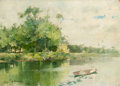 Fine Art - Painting, American, OLIVER DENNETT GROVER (American, 1861-1927). River Scene(double-sided painting), 1884. Oil on wood panel. 10 x 14inche...
