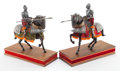 Decorative Arts, Continental:Other , PAIR OF CONTINENTAL COMPOSITE, PEWTER AND TEXTILE JOUSTING KNIGHTSON STANDS . Circa 1910. 11-1/2 x 13-1/2 x 5 inches (29.2 ...(Total: 2 Items)