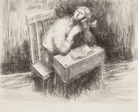 HENRY SPENCER MOORE (British, 1898-1986) In Deep Thought Etching with aquatint 7-3/4 x 9-3/4 inch