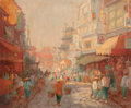 Fine Art - Painting, American, GEORGE THOMPSON PRITCHARD (American, 1878-1962). ChinatownStreet Scene. Oil on canvas. 28 x 34 inches (71.1 x 86.4 cm)...