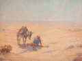 Fine Art - Painting, American, GEORGE THOMPSON PRITCHARD (American, 1878-1962). Rider in theDesert. Oil on canvas. 30 x 40 inches (76.2 x 101.6 cm). S...