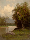American:Regional, CHARLES HENRY EATON (American, 1850-1901). River's Edge. Oilon canvas. 8 x 6-1/4 inches (20.3 x 15.9 cm). Signed lower ...