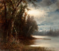 Fine Art - Painting, American, JOSEPH ANTONIO HEKKING (American, 1830-1903). Moonlight Over theRiver. Oil on board. 11-3/4 x 14 inches (29.8 x 35.6 cm...