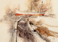 Fine Art - Work on Paper:Watercolor, RITCHIE ALLEN BENSON (American, 1941-1996). Ship in aHarbor. Watercolor on paper. Image: 16-1/2 x 22-3/4 inches(41.9 x...