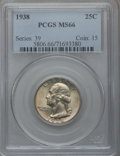 Washington Quarters: , 1938 25C MS66 PCGS. PCGS Population (243/36). NGC Census: (218/59).Mintage: 9,480,045. Numismedia Wsl. Price for problem f...