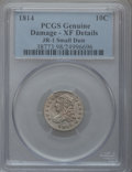 Bust Dimes, 1814 10C Small Date -- Damage -- PCGS Genuine. XF Details. JR-1.NGC Census: (1/36). PCGS Population (0/15). Numismedia Ws...