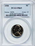 Proof Jefferson Nickels: , 1958 5C PR69 PCGS. PCGS Population (6/0). NGC Census: (58/0).Mintage: 875,652. Numismedia Wsl. Price for problem free NGC/...